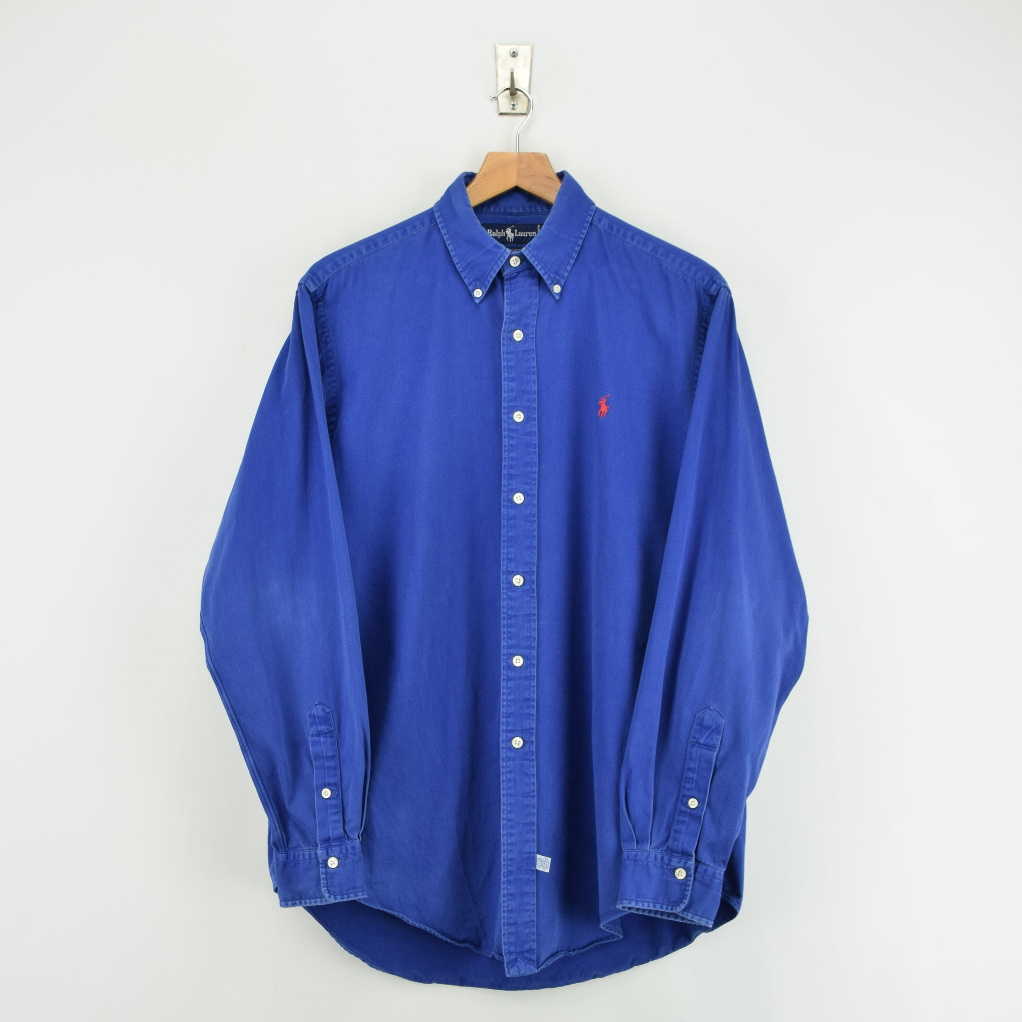 Vintage 80s Ralph Lauren Polo Blue Long Sleeve Cotton Shirt L front