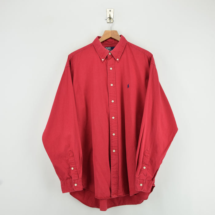 Vintage Ralph Lauren Polo Red Pink Long Sleeve Cotton Shirt XL / XXL Oversized front