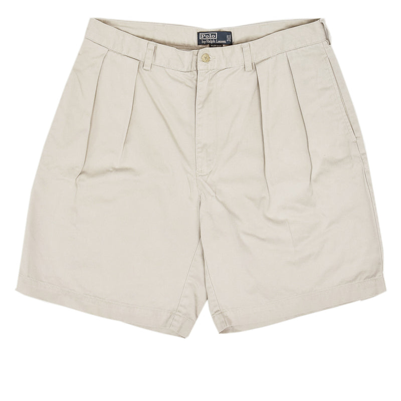 Vintage 90s Polo Ralph Lauren Tyler Cotton Double Pleated Chino Shorts 34 W front