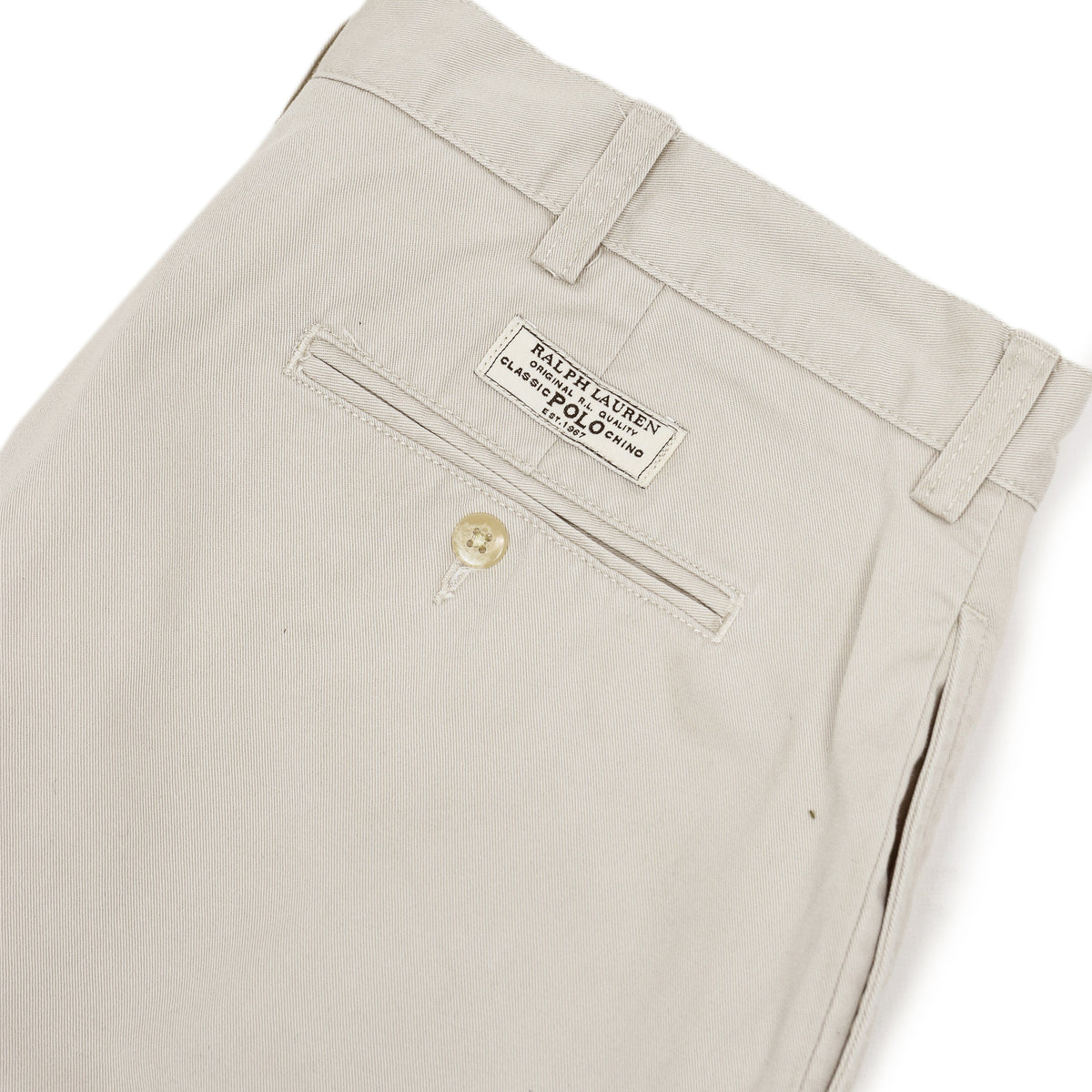 Vintage 90s Polo Ralph Lauren Tyler Cotton Double Pleated Chino Shorts 34 W back pocket