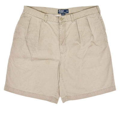 Vintage 90s Polo Ralph Lauren Tyler Cotton Double Pleated Chino Shorts 36 W front