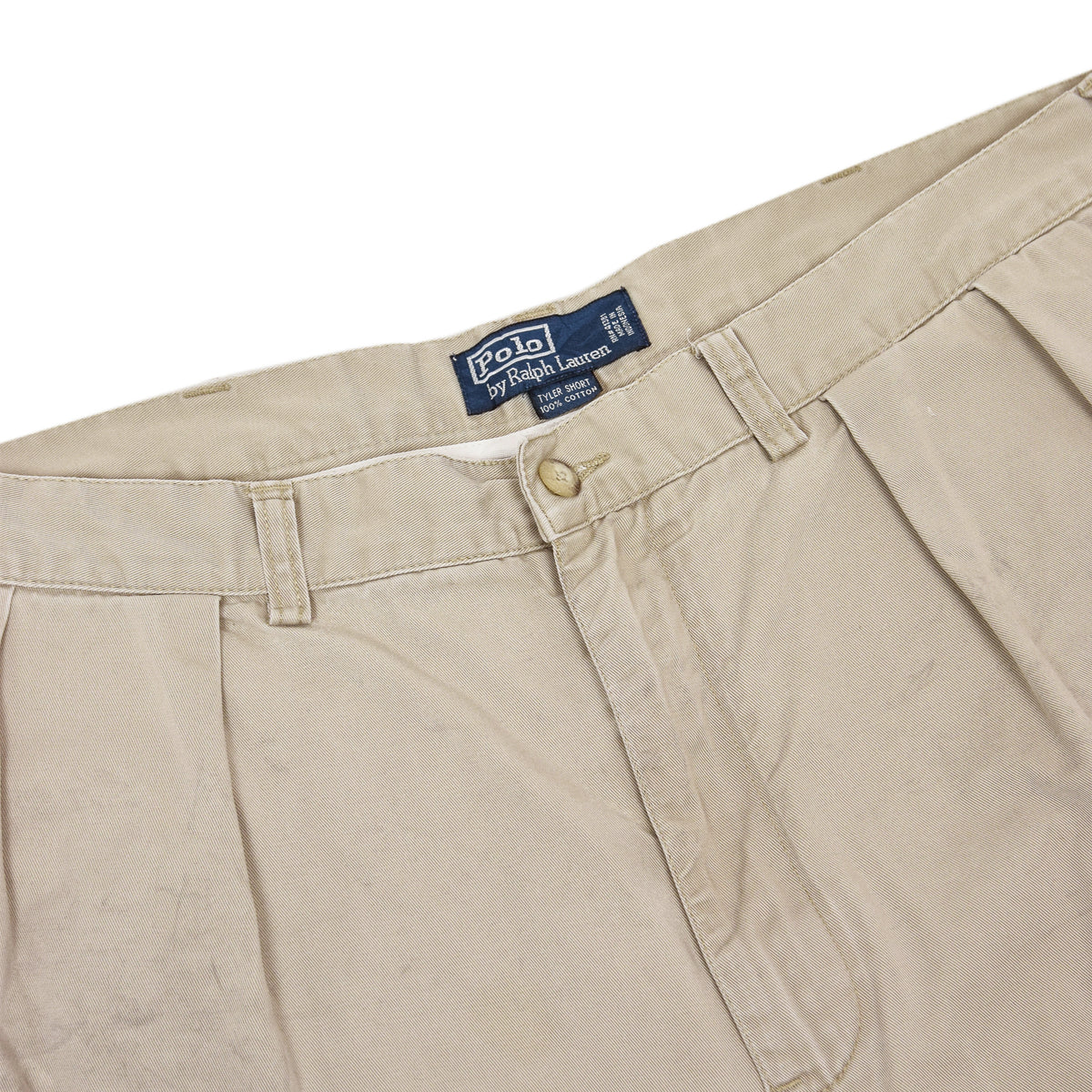 Vintage 90s Polo Ralph Lauren Tyler Cotton Double Pleated Chino Shorts 36 W waistband