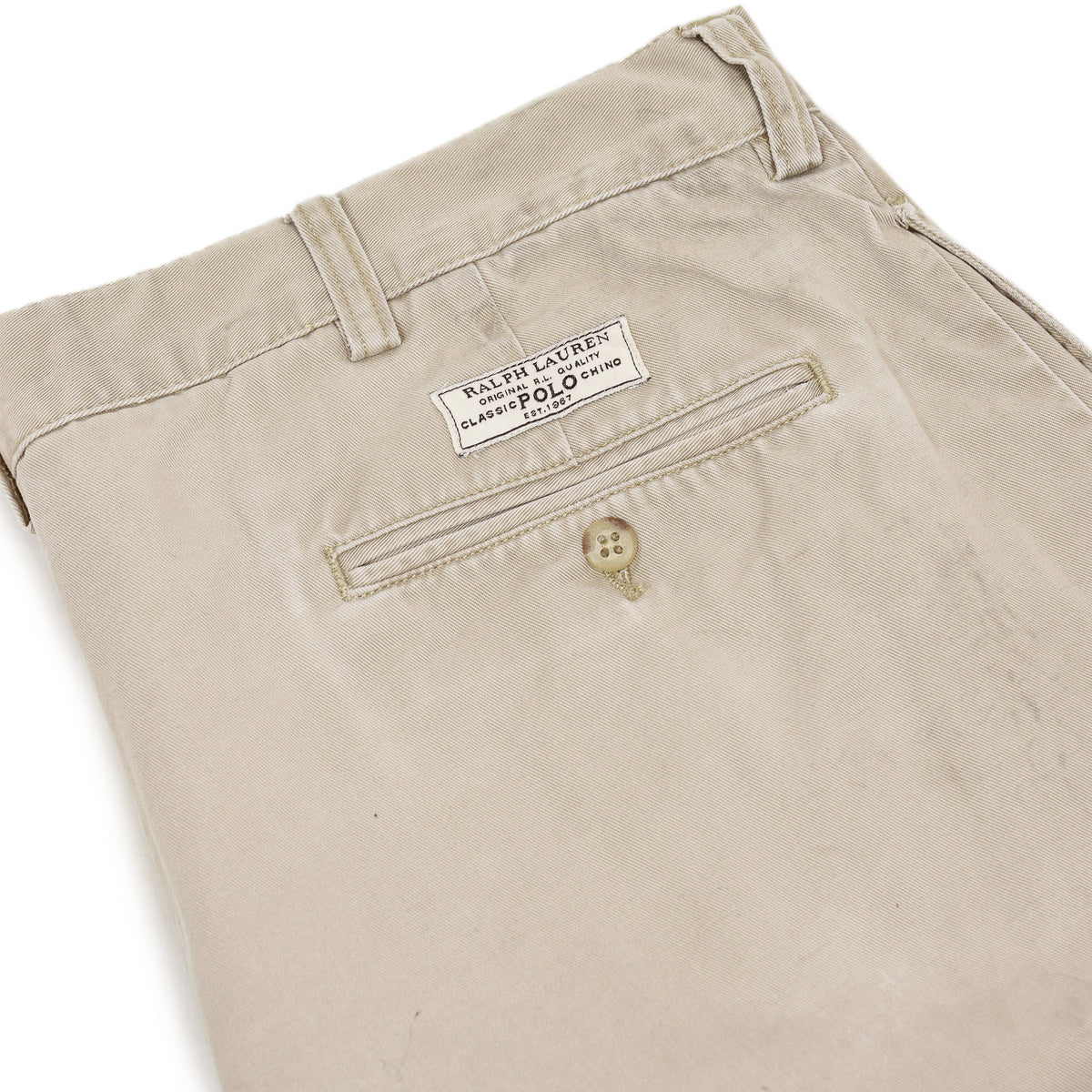 Vintage 90s Polo Ralph Lauren Tyler Cotton Double Pleated Chino Shorts 36 W back pocket