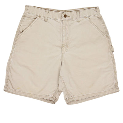 Vintage Carhartt Stone Cotton Canvas Utility Work Shorts 32 W front