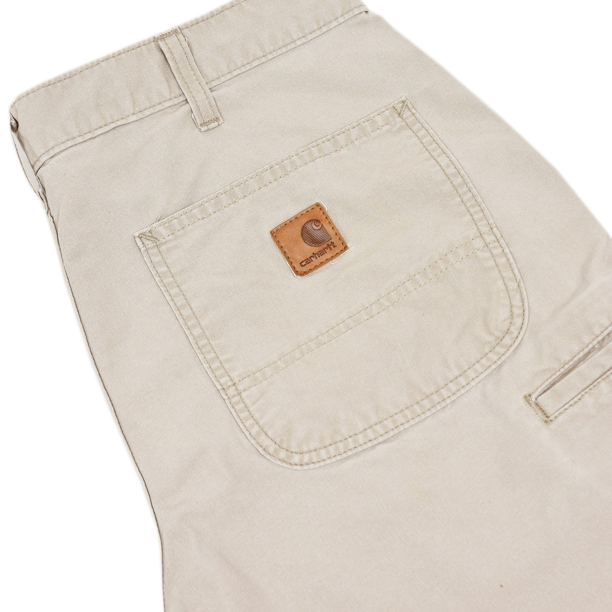 Vintage Carhartt Stone Cotton Canvas Utility Work Shorts 32 W back details