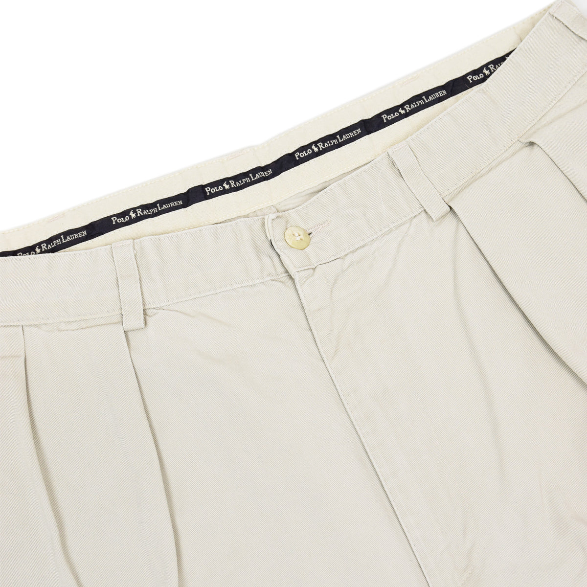 Vintage 80s Polo Ralph Lauren Cotton Double Pleated Front Chino Shorts 34 W waistband