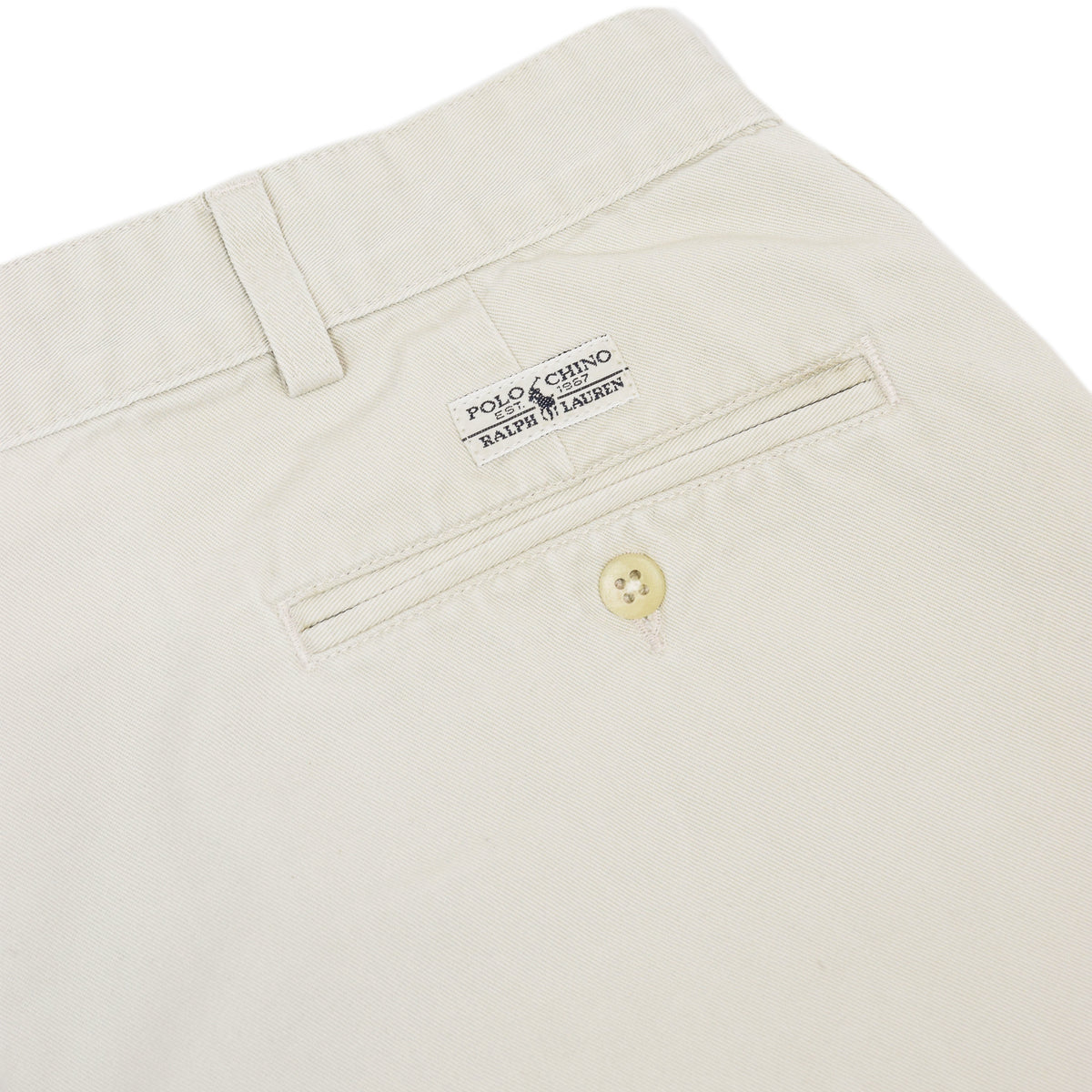 Vintage 80s Polo Ralph Lauren Cotton Double Pleated Front Chino Shorts 34 W back pocket