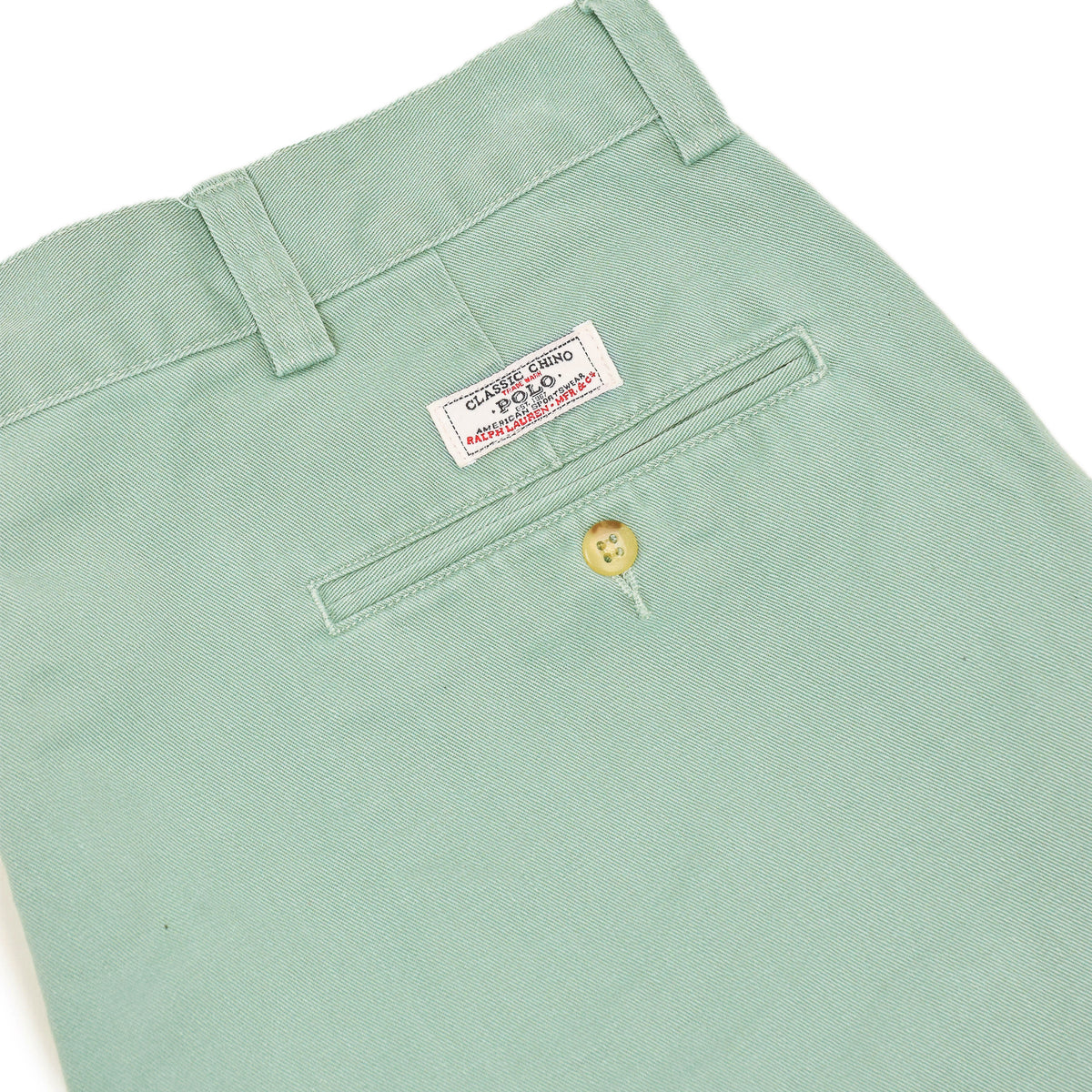 Vintage 90s Polo Ralph Lauren Philip Green Cotton Chino Shorts 36 W back pocket