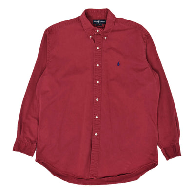 Vintage 80s Ralph Lauren Polo Long Sleeve Cotton Shirt Red L / XL front