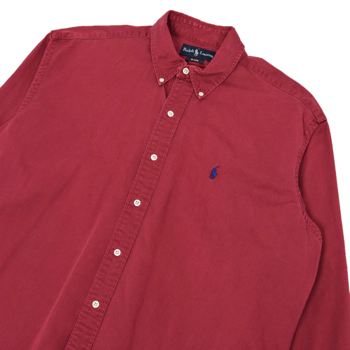 Vintage 80s Ralph Lauren Polo Long Sleeve Cotton Shirt Red L / XL chest
