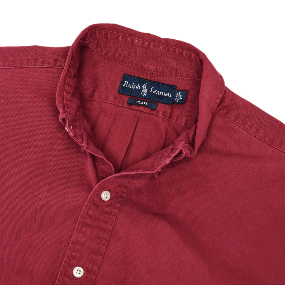 Vintage 80s Ralph Lauren Polo Long Sleeve Cotton Shirt Red L / XL collar