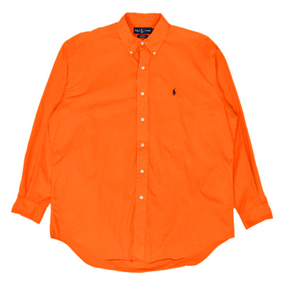 Vintage 80s Ralph Lauren Polo Long Sleeve Cotton Shirt Bright Orange L / XL front