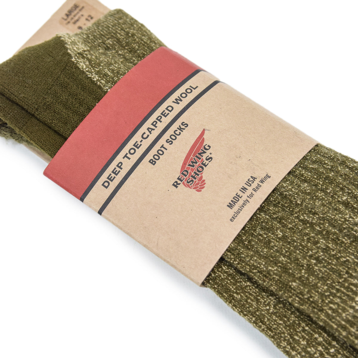 Red Wing Deep Toe Capped Socks Olive packaging