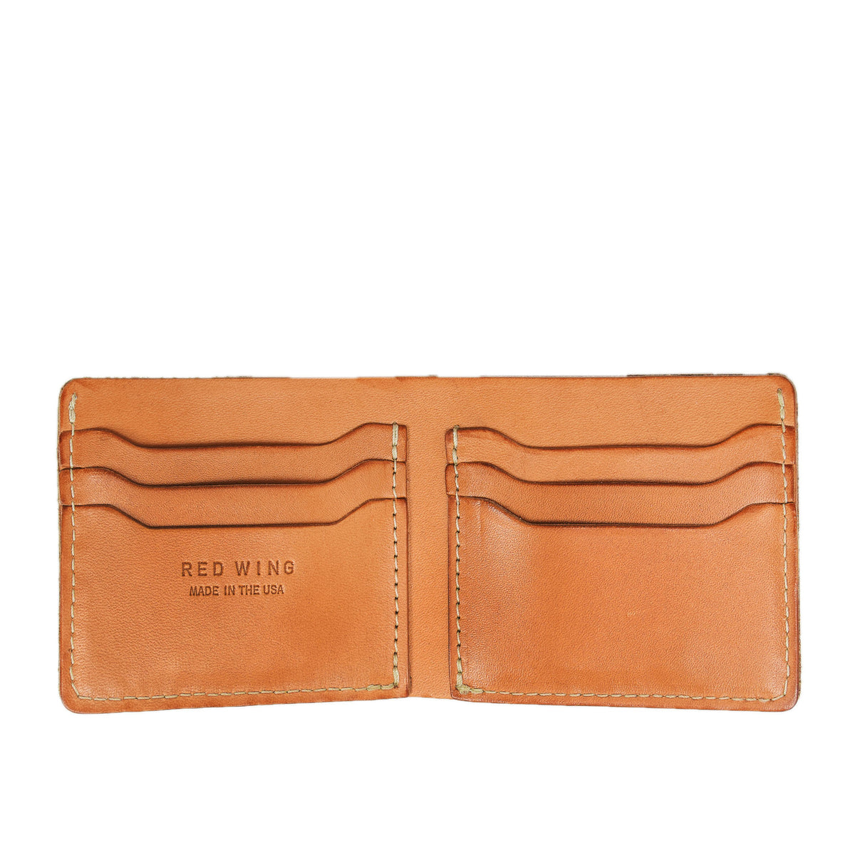Red Wing Veg Tan Leather Classic Bifold Wallet Made in USA inside