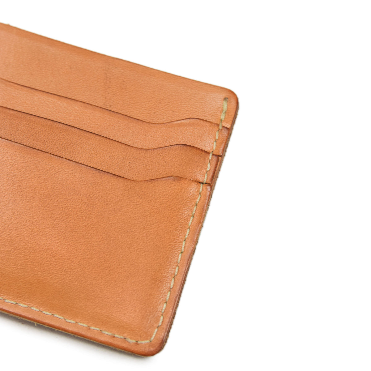 Red Wing Veg Tan Leather Classic Bifold Wallet Made in USA detail