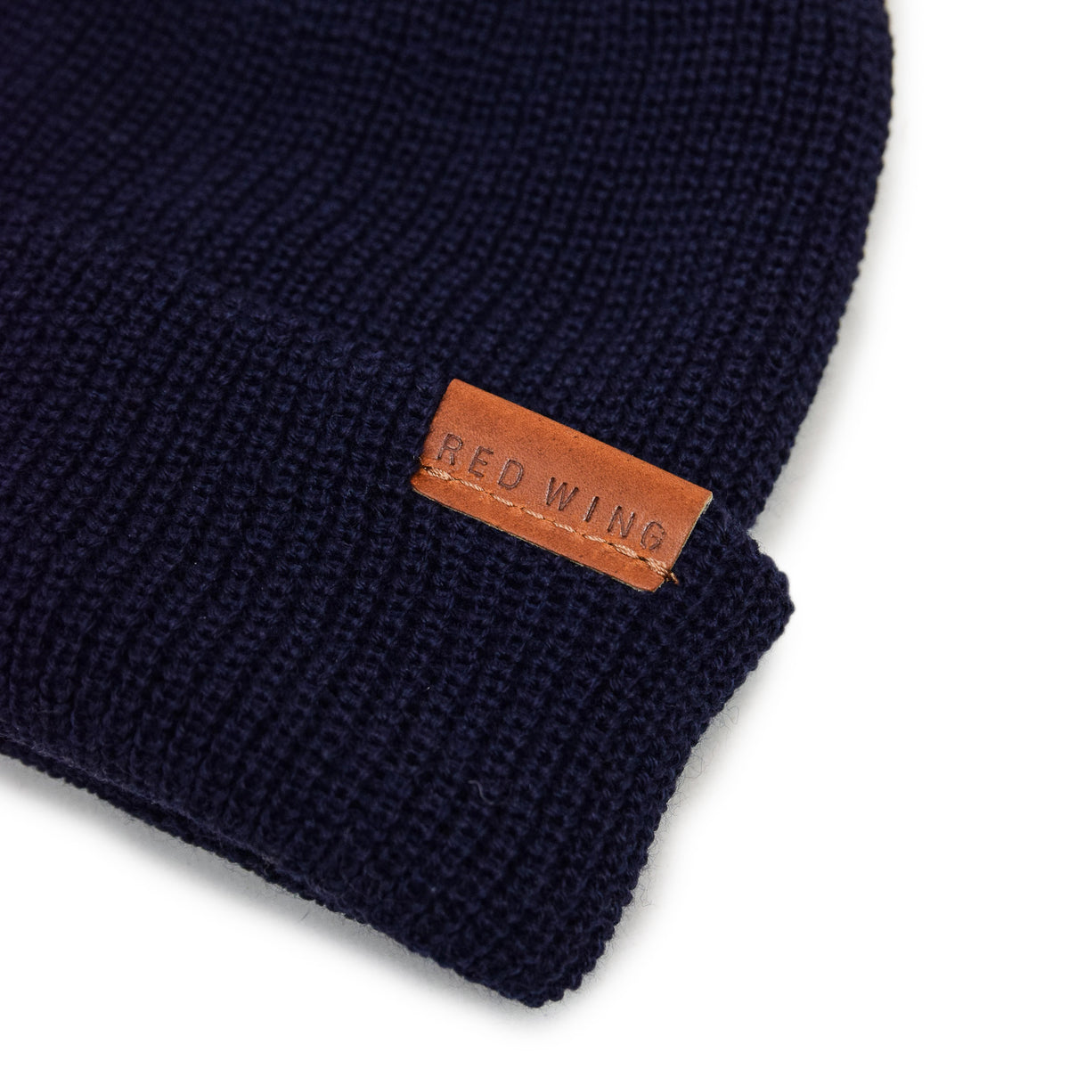 Red Wing Merino Wool Knit Beanie Navy tab detail
