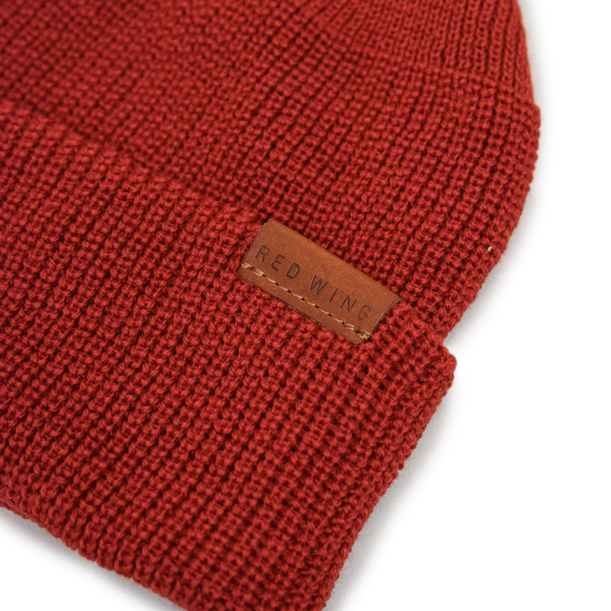 Red Wing Merino Wool Knit Beanie Red tab detail