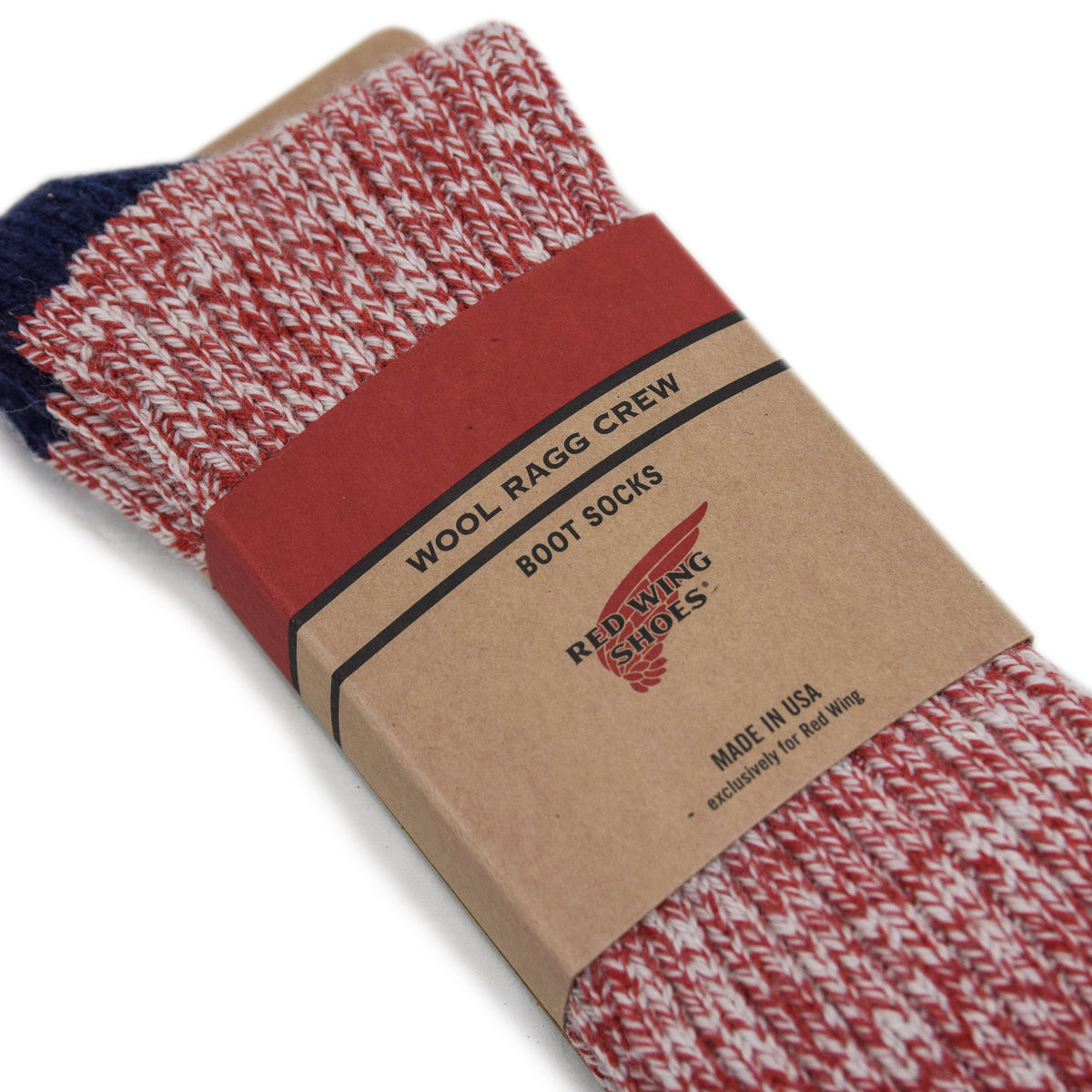 Red Wing Striped Wool Ragg Crew Socks Red detail