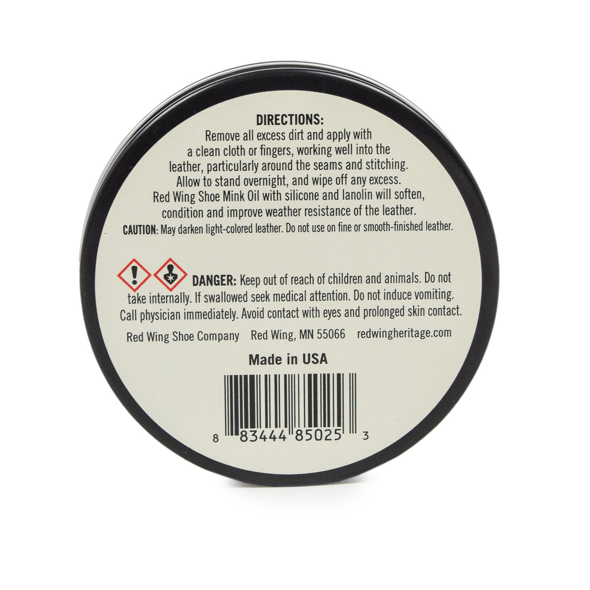 Red Wing Mink Oil Leather Shoe Care Back label