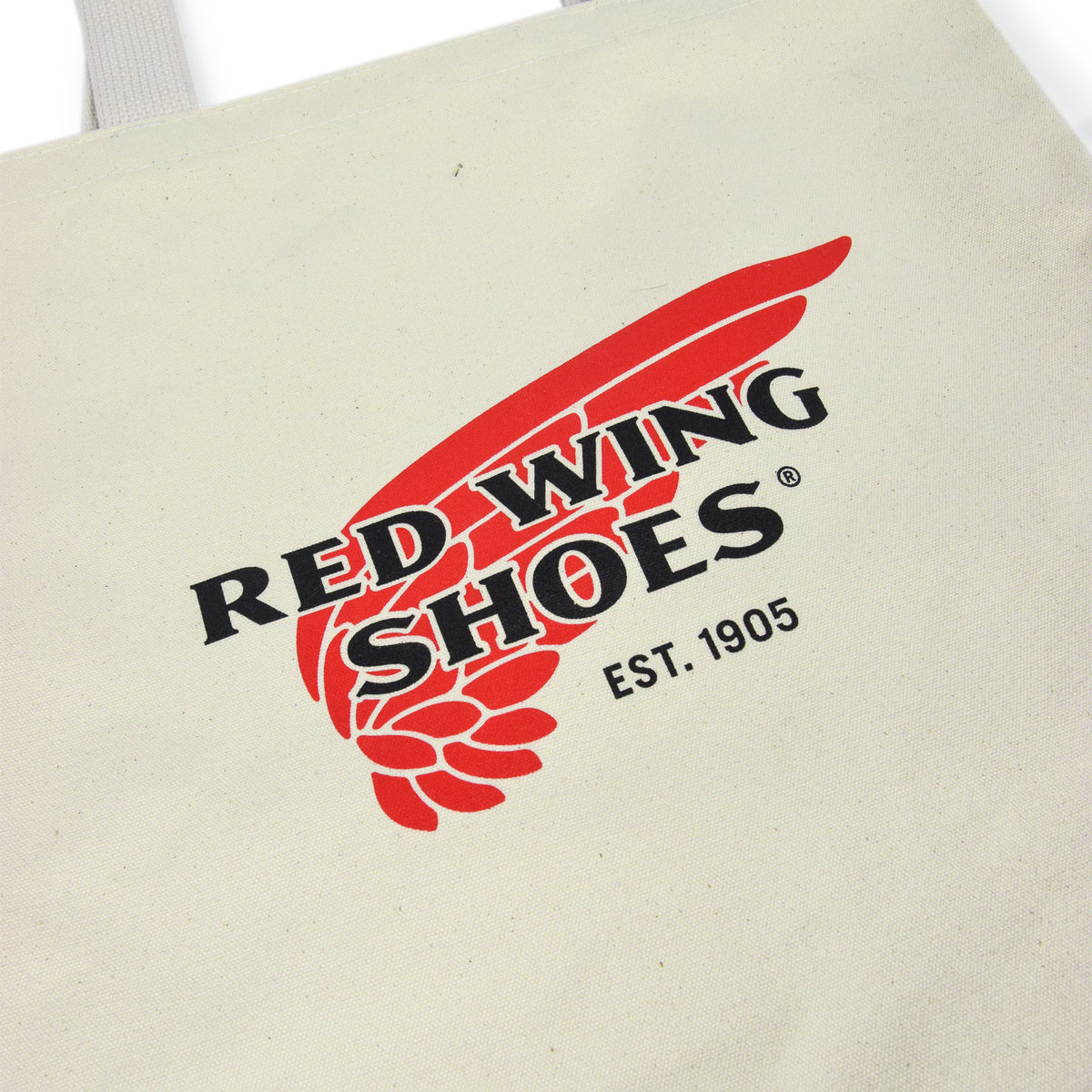 Red Wing Logo Canvas Tote Bag Made in USA print