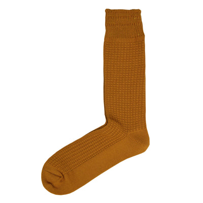 Rototo Cotton Waffle Crew Socks Yellow Made In Japan- Front Shot
