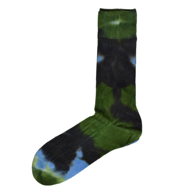 Rototo Tie Dye Formal Crew Socks Green / Blue Made In Japan-Front Shot