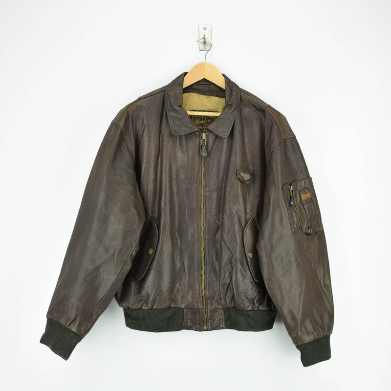 Vintage Redskins MA-2 Leather Flight Jacket Front