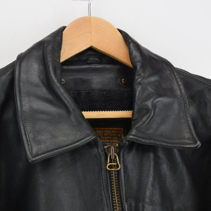 Vintage Redskins France Highwayman Style Black Leather Bomber Biker Jacket XL collar