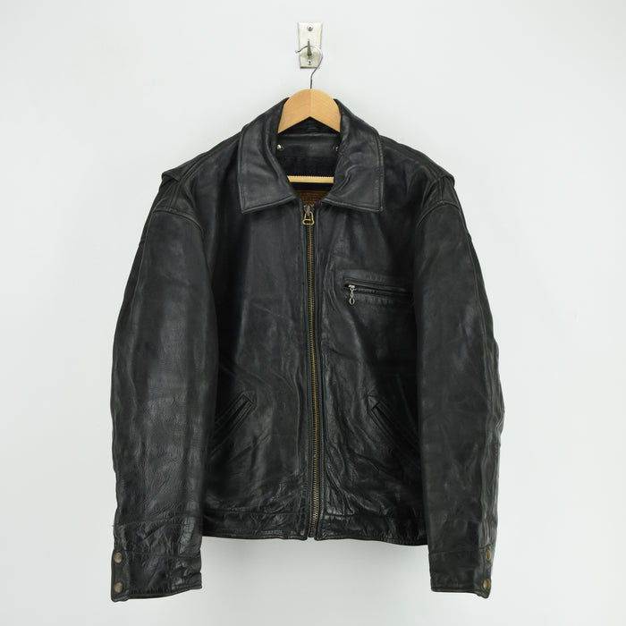 Vintage Redskins France Highwayman Style Black Leather Bomber Biker Jacket XL front
