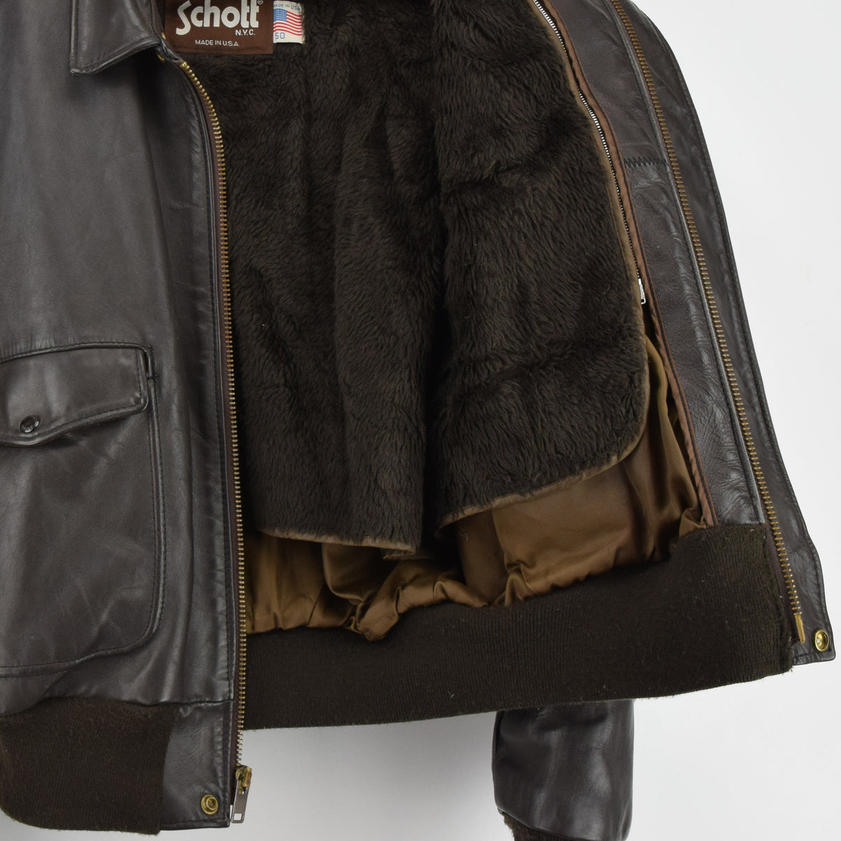 Vintage Schott A-2 Brown Cowhide Leather Flight Bomber Jacket Made in USA XXL lining