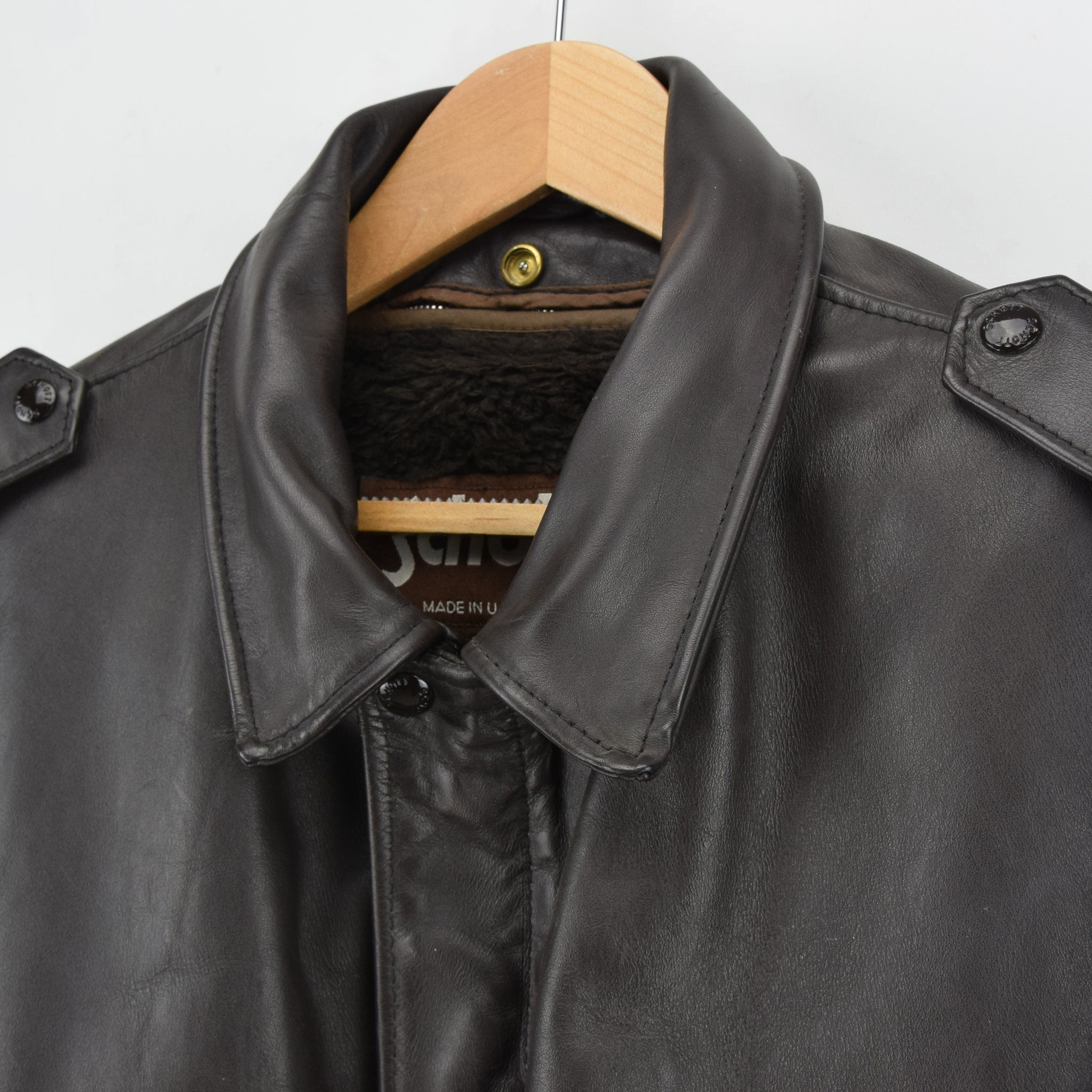 Vintage Schott A-2 Brown Cowhide Leather Flight Bomber Jacket Made in USA XXL collar