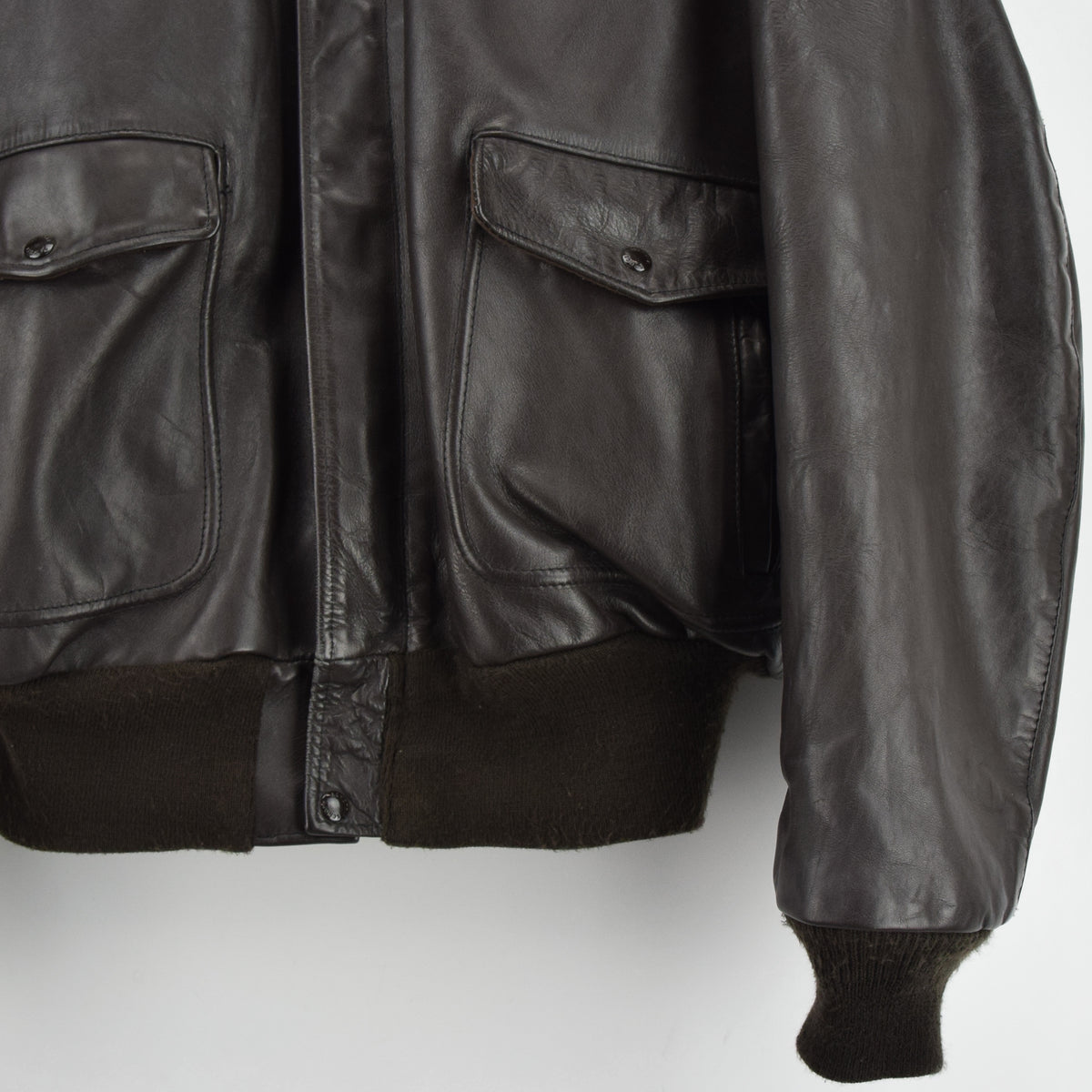 Vintage Schott A-2 Brown Cowhide Leather Flight Bomber Jacket Made in USA XXL front hem
