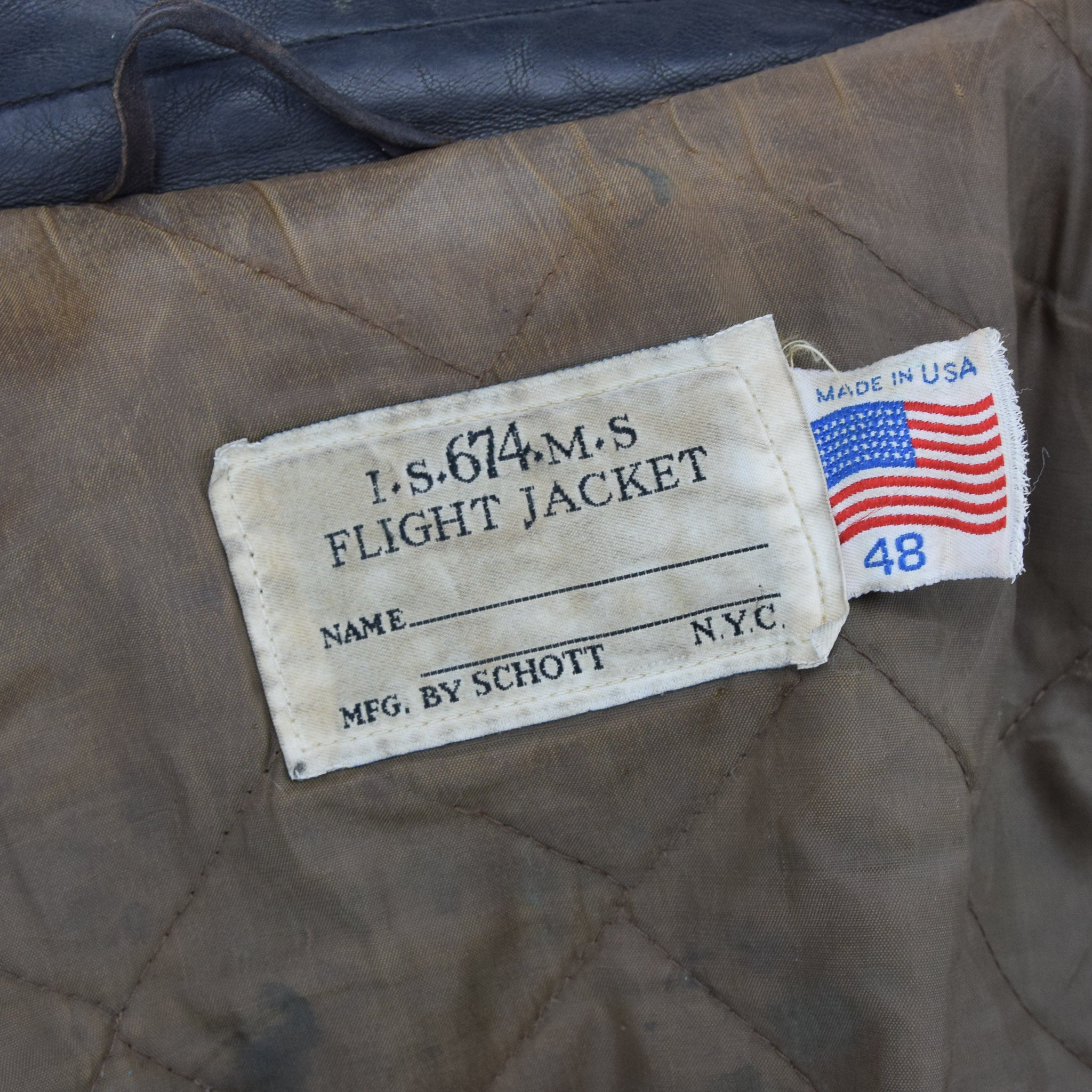 Vintage Schott IS-674-MS A-2 Brown Leather Flight Bomber Jacket Made in USA XL label