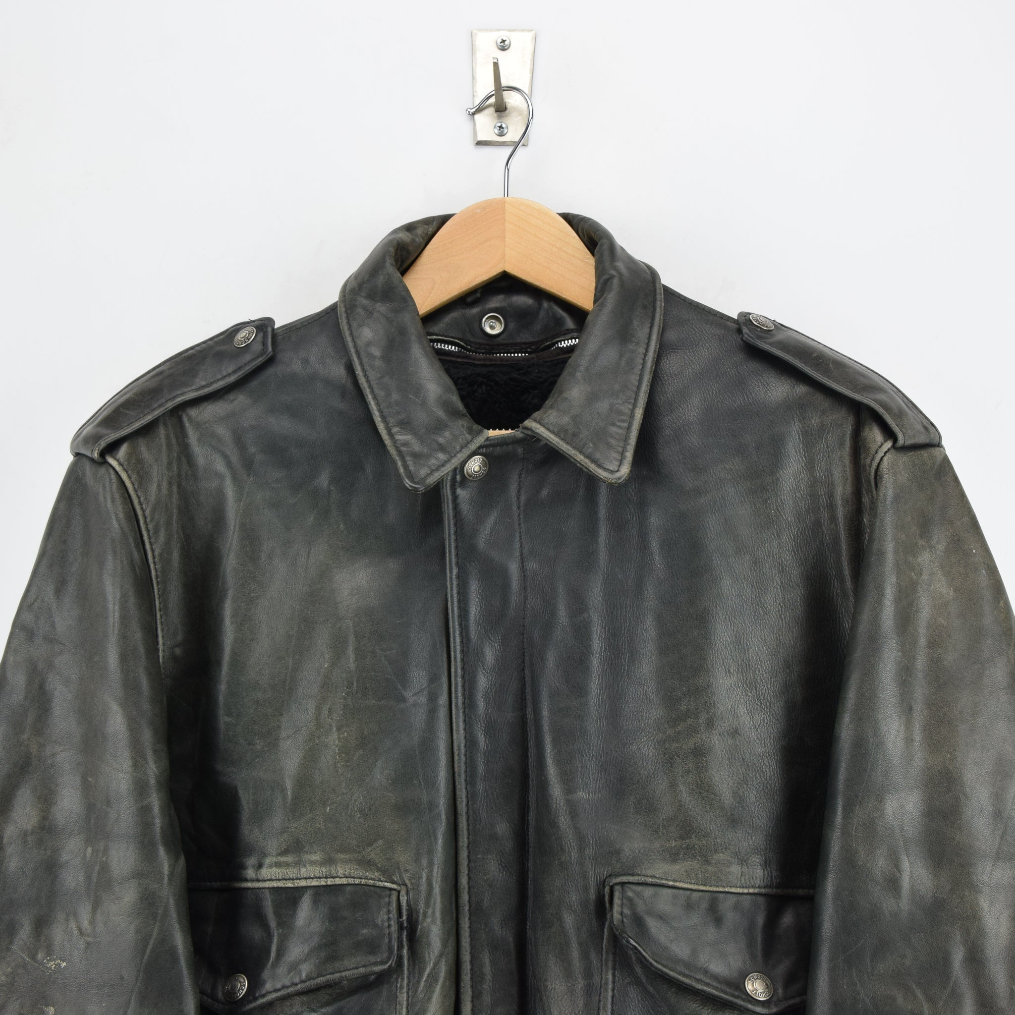 Vintage Schott A-2 Black Distressed Leather Flight Bomber Jacket Made in USA L chest
