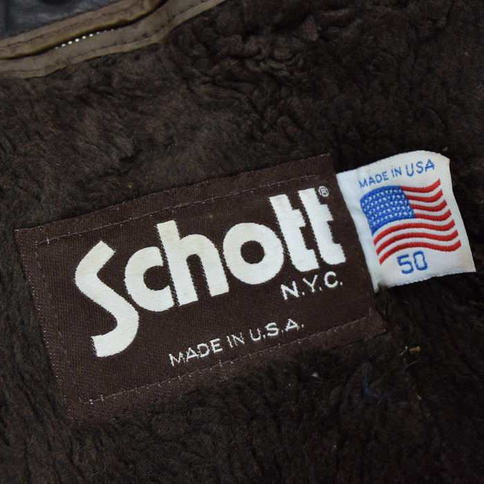 Vintage Schott A-2 Brown Leather Flight Bomber Jacket Made in USA XL / XXL label