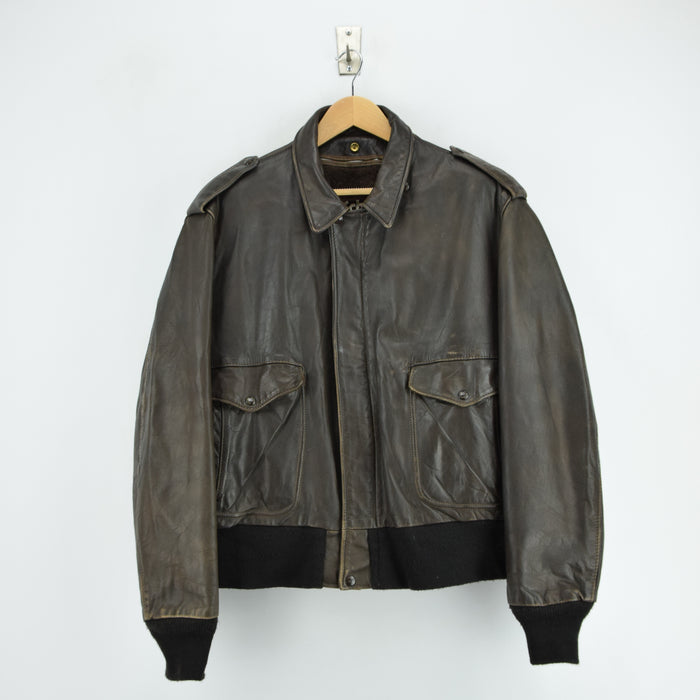 Vintage Schott A-2 Brown Leather Flight Bomber Jacket Made in USA XL / XXL front