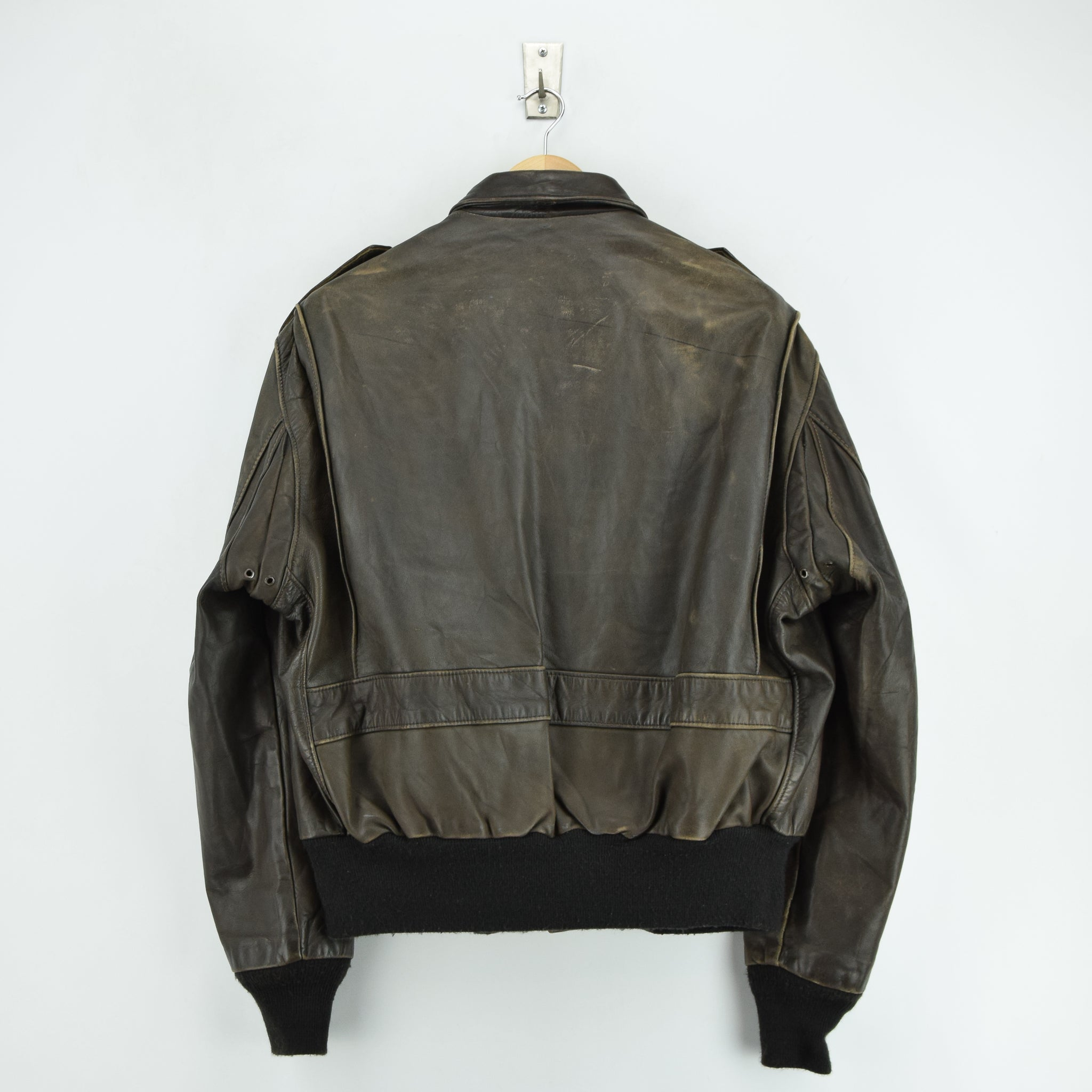 17b2a5aae6b ... Vintage Schott A-2 Brown Leather Flight Bomber Jacket Made in USA XL    XXL ...