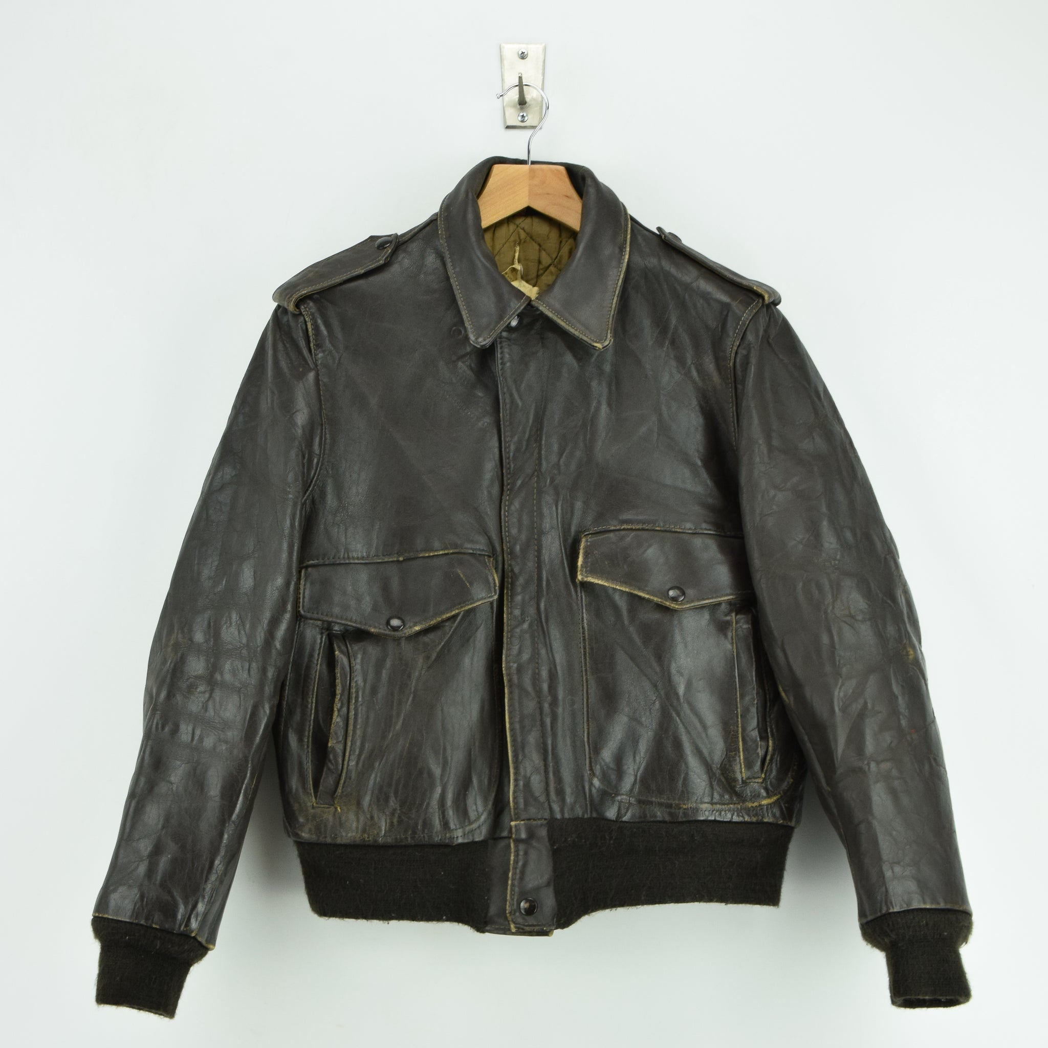 570254a6969 Vintage Schott IS-674-MS A-2 Brown Leather Flight Bomber Jacket Usa ...