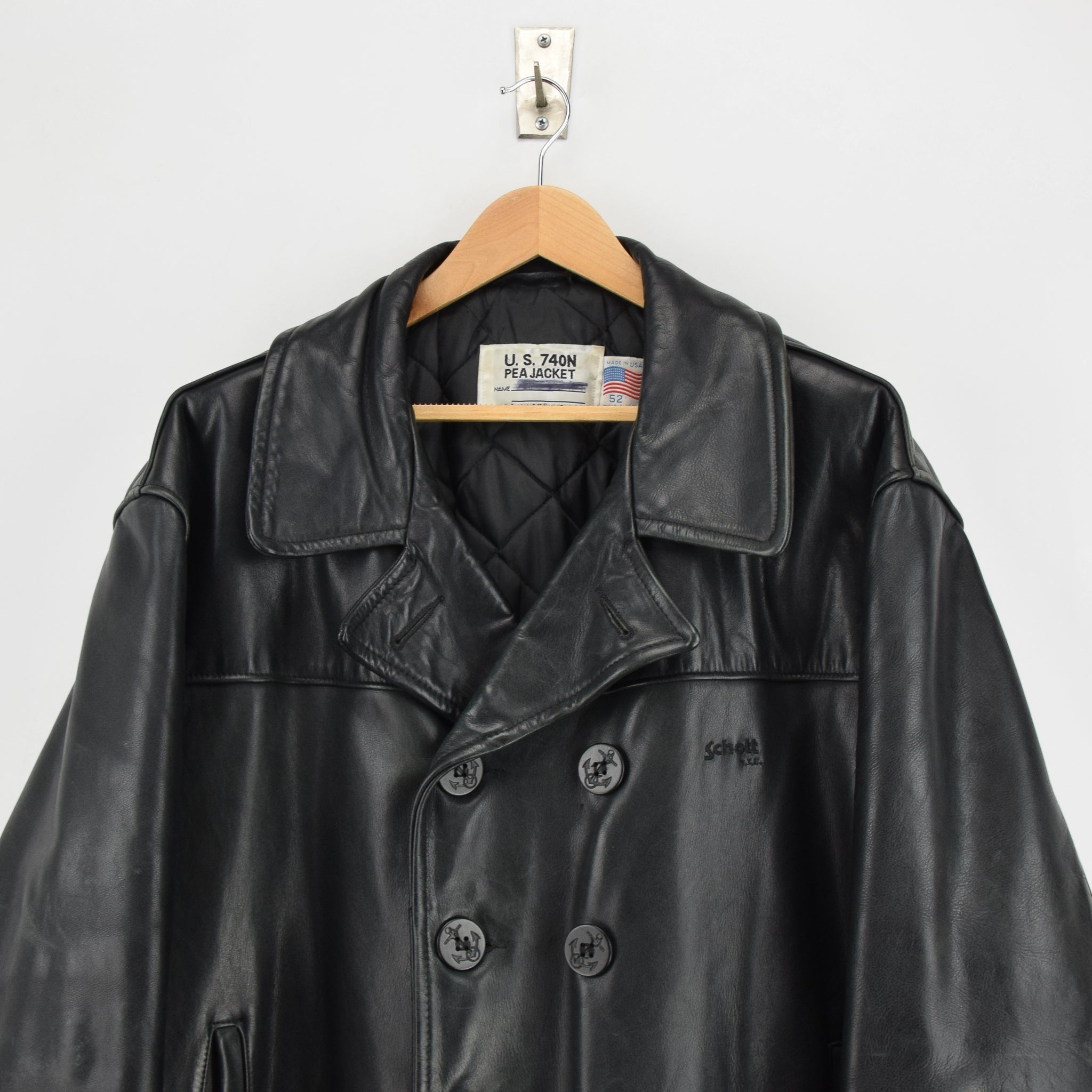 Vintage Schott NYC 740N Black Leather Pea Coat Reefer Jacket USA Made XXL / XXXL chest