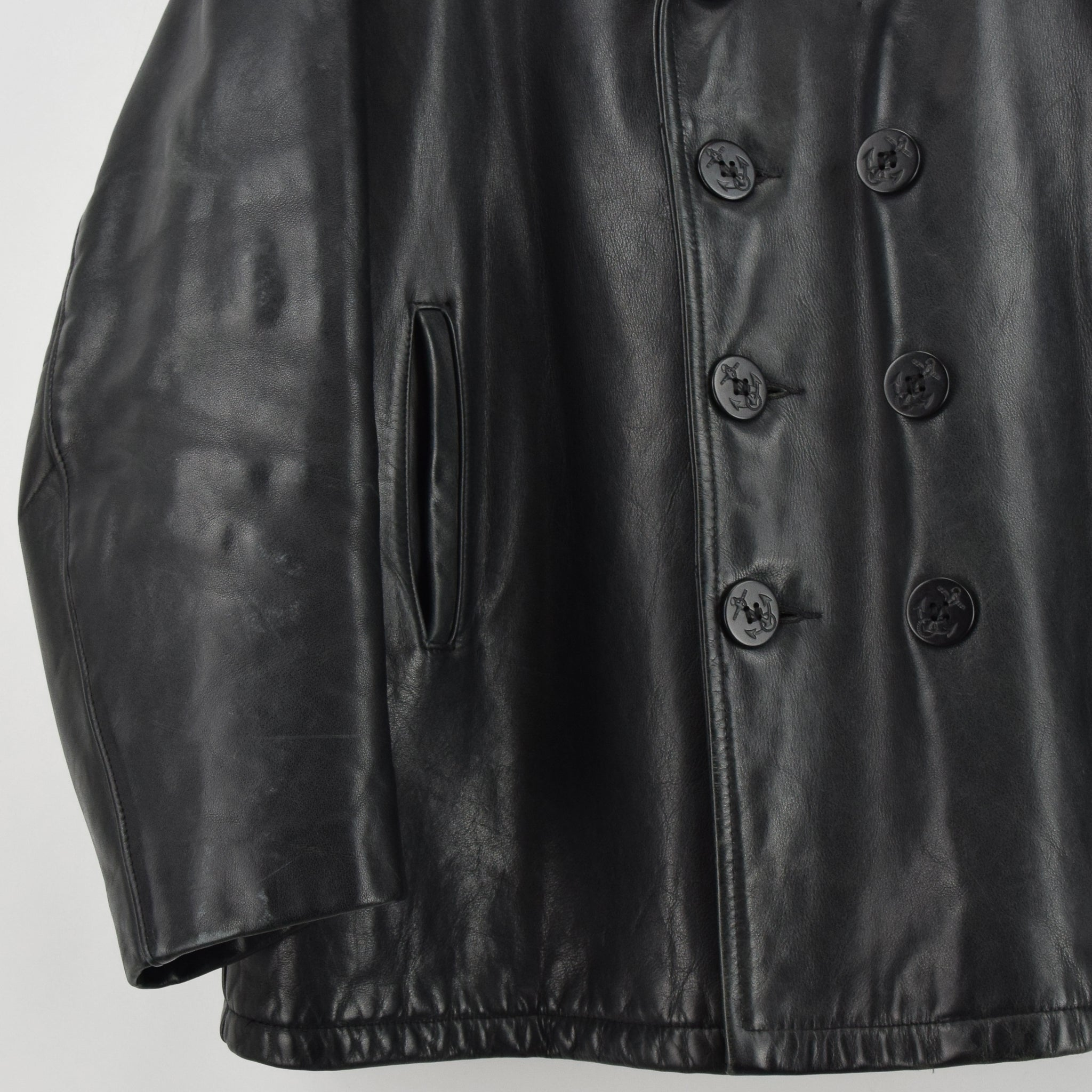 Vintage Schott NYC 740N Black Leather Pea Coat Reefer Jacket USA Made XXL / XXXL front hem