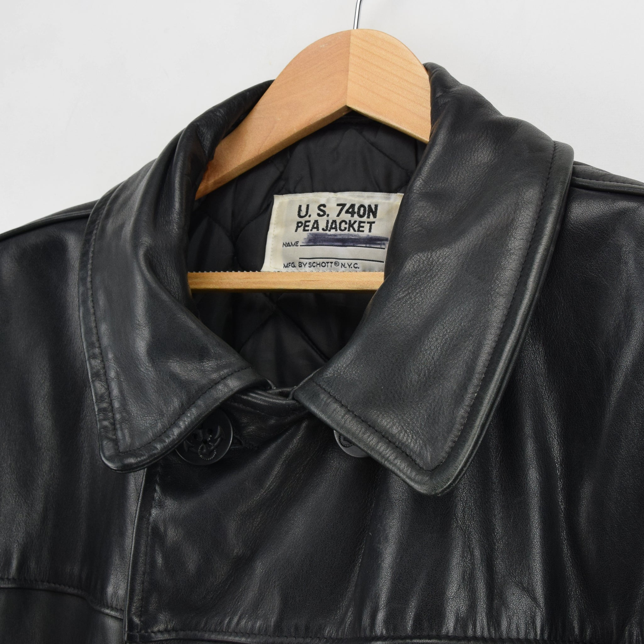 Vintage Schott NYC 740N Black Leather Pea Coat Reefer Jacket USA Made XXL / XXXL collar