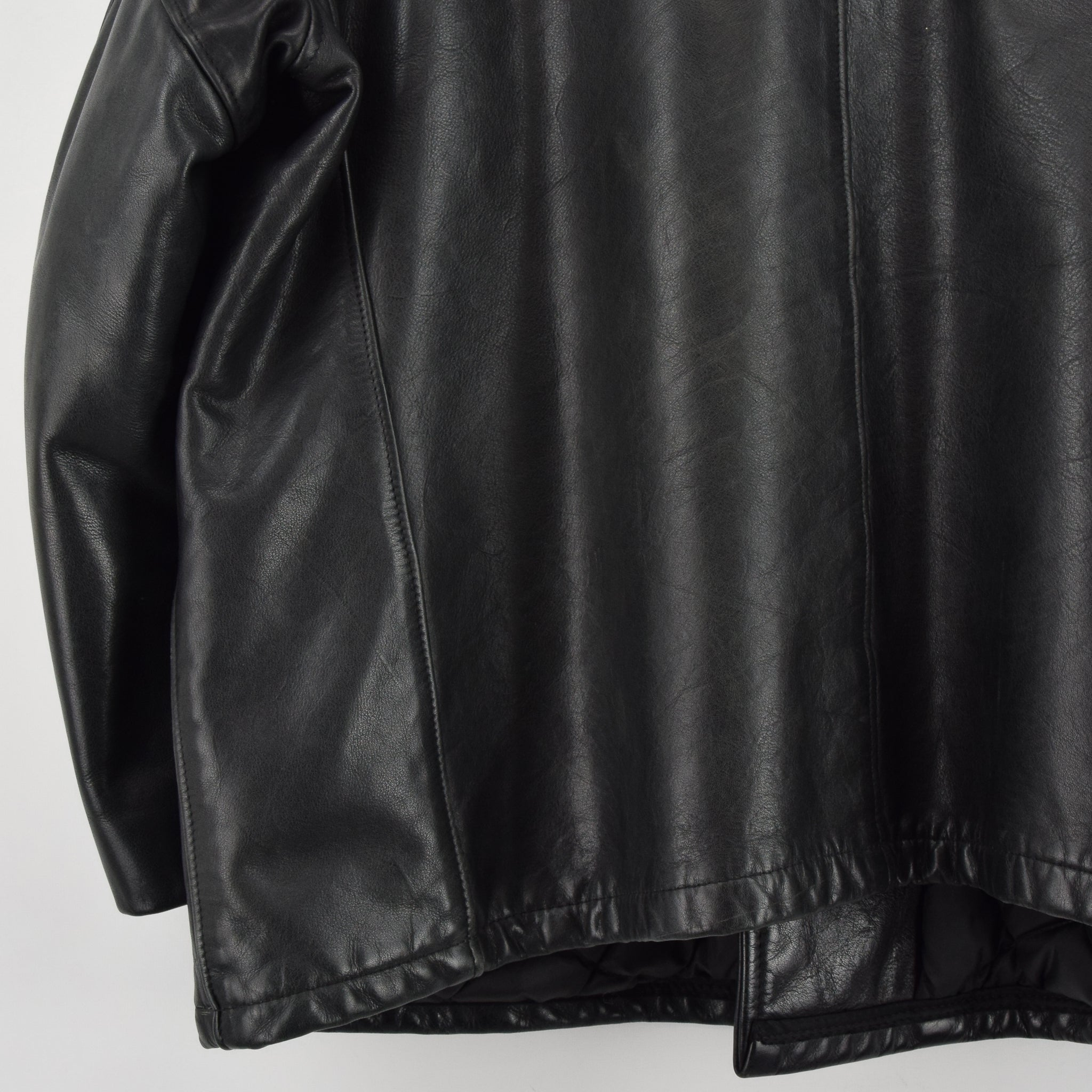 Vintage Schott NYC 740N Black Leather Pea Coat Reefer Jacket USA Made XXL / XXXL back hem