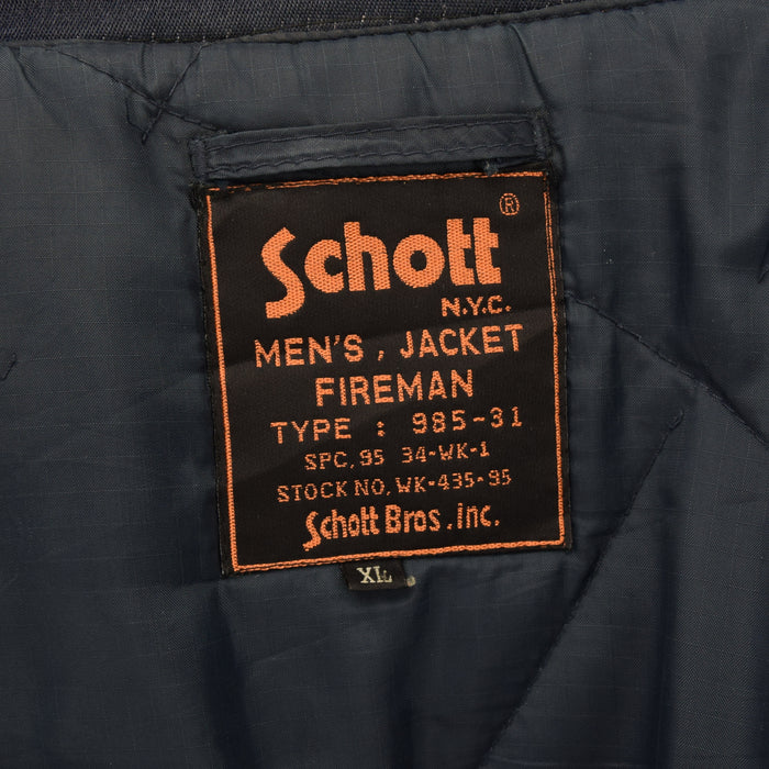 Vintage Schott Navy Blue Men's Fireman Clasp Front Jacket XL label