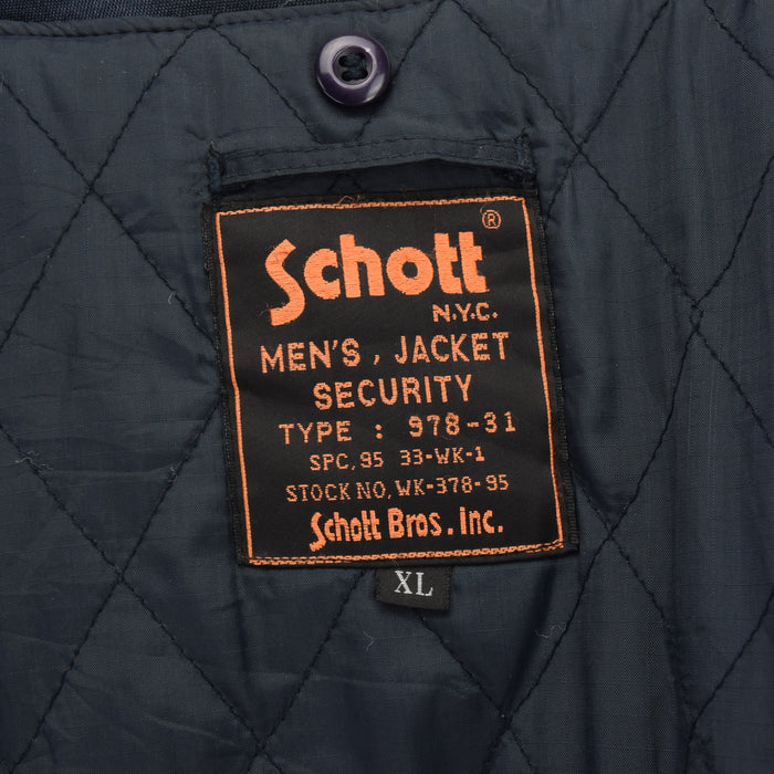 Vintage Schott NYC Men's Security Dark Blue Bomber Jacket XL / XXL label