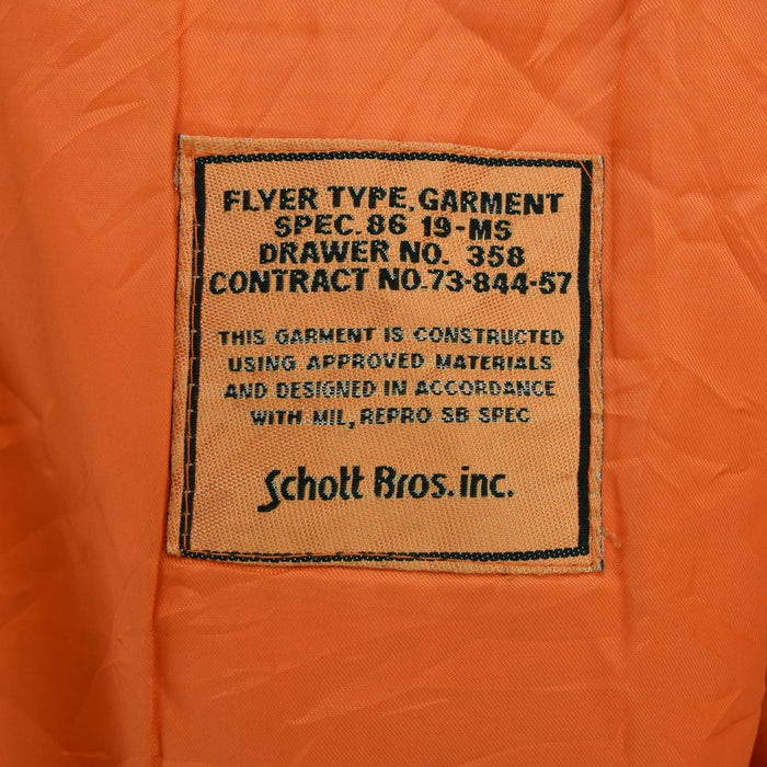 Vintage Schott MA-1 Style Flyer Type Garment Flight Bomber Jacket L label