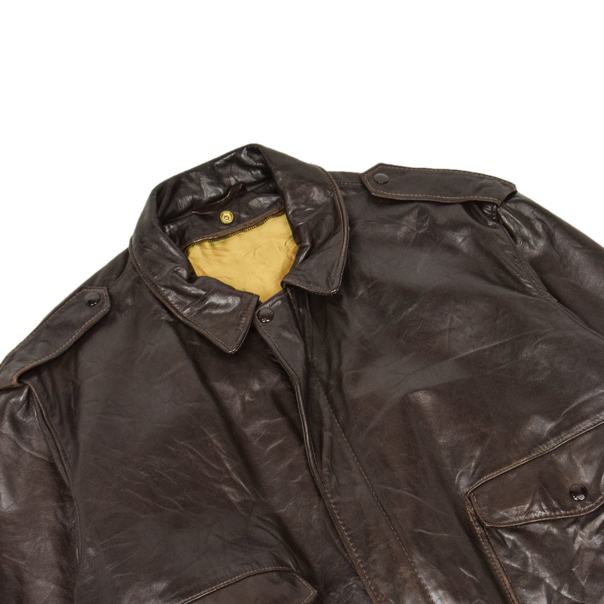 Vintage 80s A-2 Schott Brown Leather Flight Bomber Jacket Made in USA 48 XXL chest