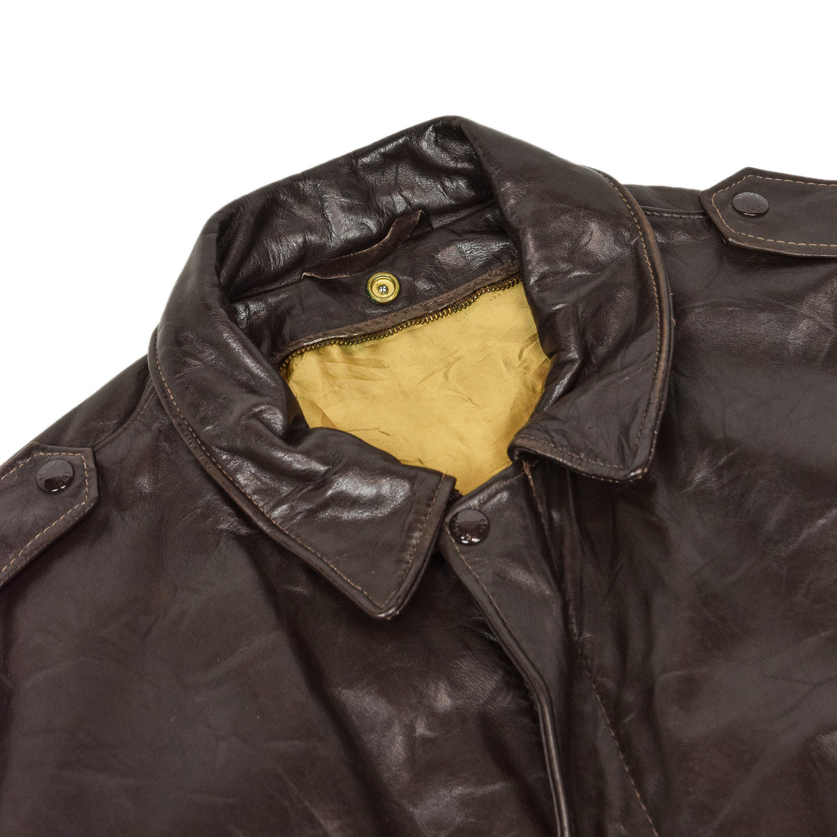 Vintage 80s A-2 Schott Brown Leather Flight Bomber Jacket Made in USA 48 XXL collar