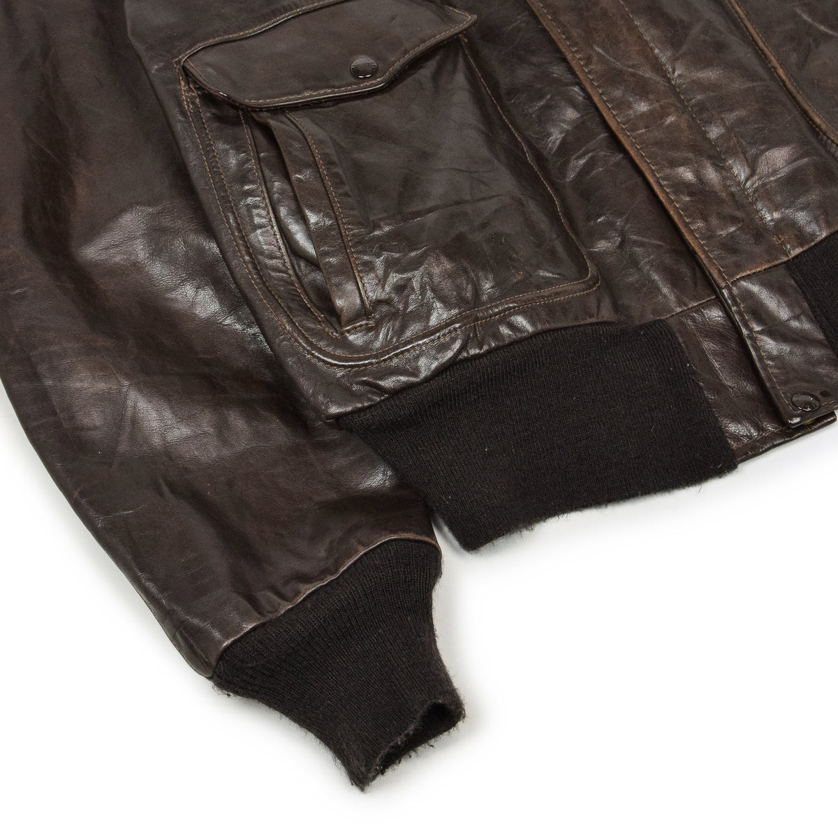 Vintage 80s A-2 Schott Brown Leather Flight Bomber Jacket Made in USA 48 XXL cuff