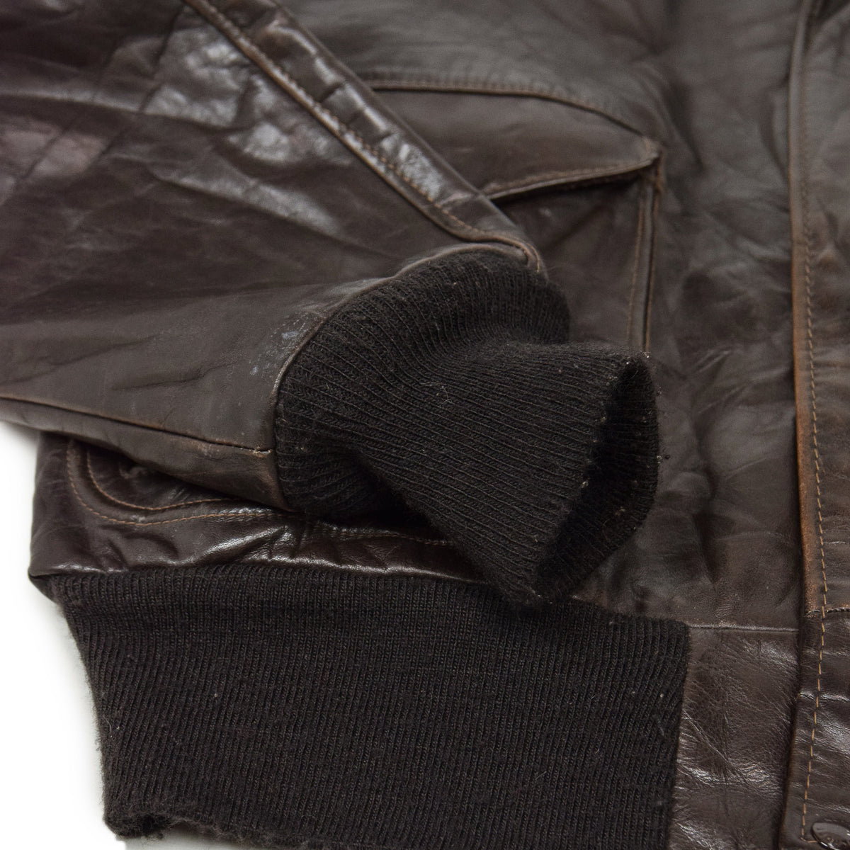 Vintage 80s A-2 Schott Brown Leather Flight Bomber Jacket Made in USA 48 XXL cuff detail