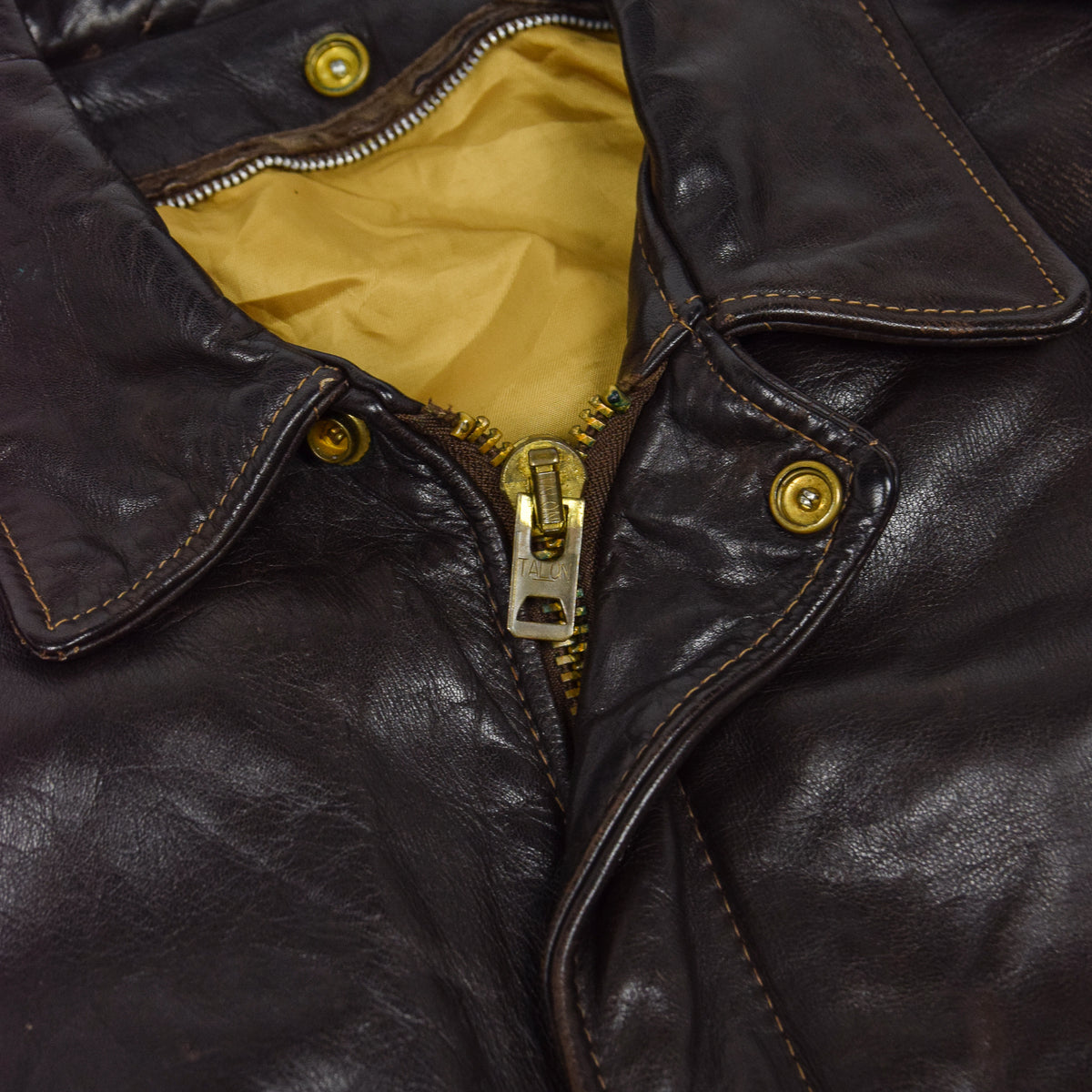 Vintage 80s A-2 Schott Brown Leather Flight Bomber Flying Jacket Made in USA M collar